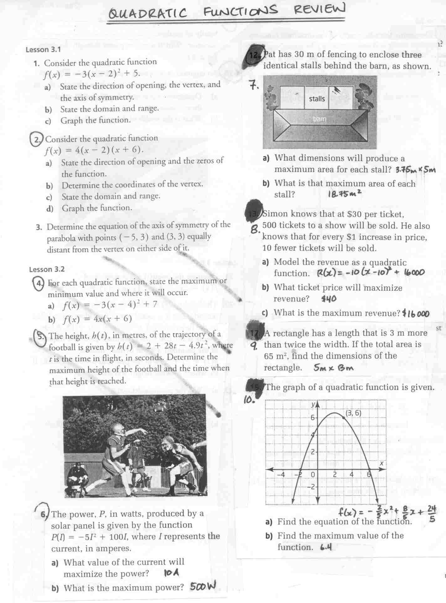 mackenziekim MCR 3U Functions Grade 11 University Fall 2009 – Transformations of Quadratic Functions Worksheet